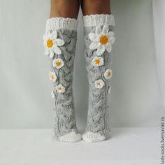 Knitted knee socks | Купить Гольфы Ромашки. Доставка бесплатно! - гольфы вязаные, гольфы женские, носки вязаные