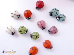 Glass ladybugs ladybug beads red green blue by APlusJewelryCrafts, $7.80