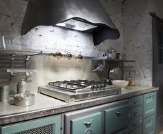 Steel cooker hood in a retro-style kitchen. Awesome!!