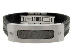 Men's Stainless Steel Black Leather CZ Bracelet (Online at Gemologica.com)