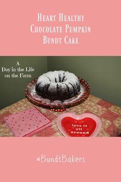 A Day in the Life on the Farm: Heart Healthy Chocolate Pumpkin Bundt #BundtBakers Dark Chocolate Cakes, Healthy Chocolate, Canned Pumpkin, Pumpkin Puree, Pumpkin Bundt Cake, Recipe Generator, Unsweetened Cocoa, Cake Plates, Corn Syrup