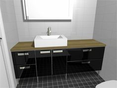 Toilet could also be bright black and oak with some chrome handles?