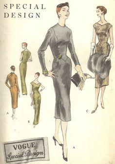 Vintage anni ' 50 Vogue speciale cucire modello di progettazione, abito Slim, due lunghezze, a forma di vita, Abito da Cocktail o sera, Vogue S-4647, formato 12 di MaisonMignon su Etsy https://www.etsy.com/it/listing/201259267/vintage-anni-50-vogue-speciale-cucire