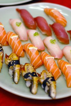 sushi  My faves are: Salmon, Surf Clam, Eel, Sea Urchin, Mackeral among others...