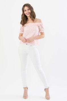 Suzy Shier Off Shoulder Lace Top
