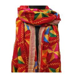 Phulkari scarf/phulkari dupatta/ chiffon dupatta/ scarf/  large scarf/ red scarf/ gift scarf / gift ideas. by vibrantscarves on Etsy