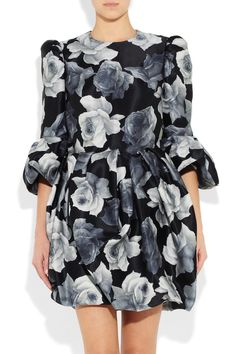 Gray Floral-Print Cotton And Silk-Blend Dress (On Sale)