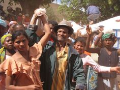 "Bringing the loved one home, ""Famadihana"" ceremony in Western Madagascar."