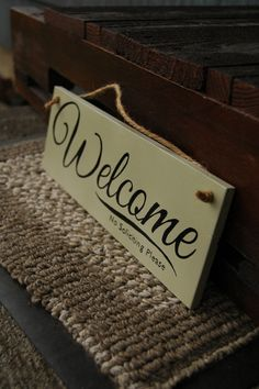 Welcome No Soliciting Please wood sign