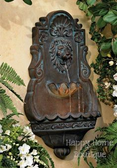 Wall Water Fountain Lion Head Indoor Outdoor Patio Deck Iron Bronze Garden Yard