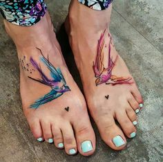 Watercolour Birds Tattoo sweet
