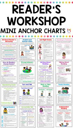 Reader's Workshop Anchor Charts Are you getting ready to launch reader's workshop in your classroom? These Reader's Workshop Mini Anchor Charts are a must! They will help you teach your or grade students important reader's workshop routines! Ela Anchor Charts, Reading Anchor Charts, Summarizing Anchor Chart, Summary Anchor Chart, Kindergarten Reading, Teaching Reading, Readers Workshop Kindergarten, Phonics Reading, Readers Workshop Notebook