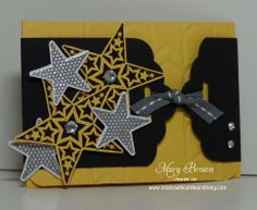 Mary's fun gift card holder uses a belly band made with the Scalloped Tag Topper Punch. How clever & fun! All supplies from Stampin' Up!
