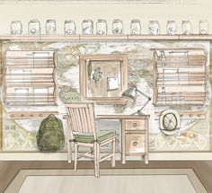 FromtheStudio-ArchaeologistStudy.  Start with map wall mural, then can add desk/hooks/shelves on top of it when older.