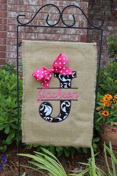 Everything but pink....Burlap monogrammed garden flag- Split letter with bow- you choose colors on Etsy, $28.00