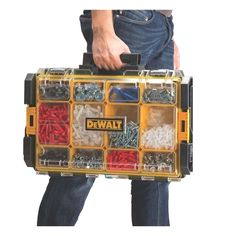 Whether used alone or integrated with the DeWalt ToughSystem Organization system, the DeWalt Tough System 100 Organizer includes 4 large and 8 small removable cups with a transparent lid so everything is readily available and easy to find. Garage Tool Organization, Garage Tools, Tool Storage, Garage Storage, Storage Ideas, Organization Ideas, Cool Tools, Diy Tools, Hand Tools
