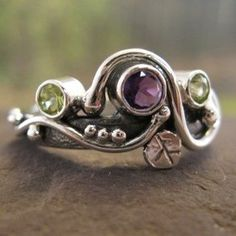 Secret Garden Ring . With Natural Amethyst And Peridot custom made by Christen Largent, Metalsmith