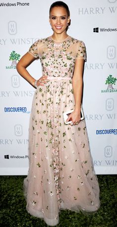 Jessica Alba  EVENT: The Baby2Baby Gala    DESIGNER: Valentino    WHY WE LOVE IT: Does it get any sweeter than a blush ballgown embroidered with flowers? We don't think so!