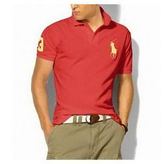 Red Ralph Lauren Mens Big pony Cotton Short-sleeved Polo