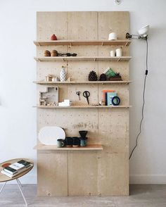 DIY plywood Peg Board shelves by jude sue