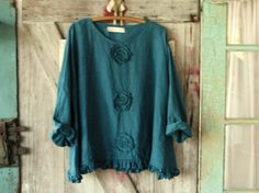linen top blouse Romance flare design in teal by linenclothing