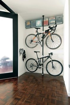 Bicycle storage - Go vertical. Store stuff up against walls or in niches and ledges & unique bike storage - could we do this under the basement stairs for ...