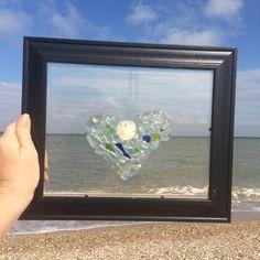Sand Dollar Sea Glass Heart, texas seaglass, beach decor, texas made