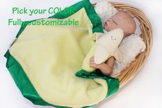 Banana baby blanket banana Lovey Blanket Satin by BBsForBabies
