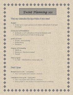 """Event Planning 101"" - tips and guidelines for planning successful events"