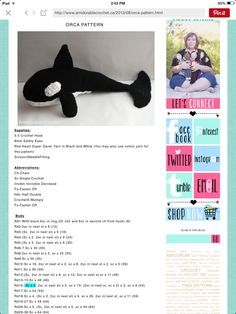 Crochet Orca Pattern Part 1 of 3 ~ (make sure to check and follow the other two parts to this pattern)!!