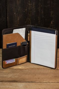 Leather Day Planner for Men: Riverton, Whiskey & Walnut - Front View