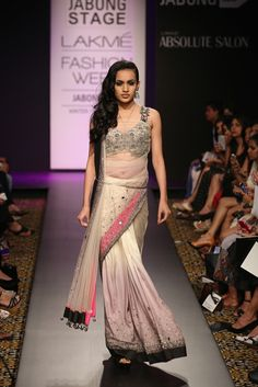 Arpita Mehta Cream Embellished #Saree At Lakme Fashion Week 2014. Love The #Blouse!