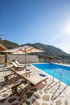 Villa Armonia in Corfu Villas In Corfu, Villa With Private Pool, Vintage Travel, Garden Landscaping, Terrace, Greece, Things To Do, Trends, Landscape