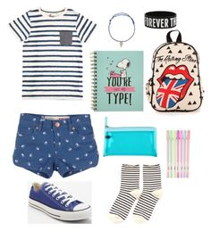 """School"" by nafisashb ❤ liked on Polyvore featuring Converse and Hansel from Basel"