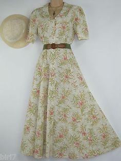 LAURA ASHLEY VINTAGE HONEYSUCKLE BEAUTY LONG-LENGTH SUMMER / TEA DRESS, 10
