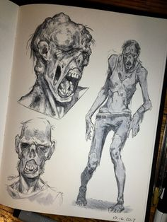It was my first time doing the Inktober Challenge, but I had a lot of fun! I'd definitely recommend it to anyone wanting to improve their drawing efficiency (takes a while to get Creepy Sketches, Zombie Drawings, Scary Drawings, Dark Art Drawings, Art Sketches, Zombie Pose, Zombie Art, Arte Horror, Horror Art