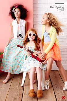 Fun Day + Sunday Best = sundresses. Get the girls excited about dressing up for the Easter holiday by letting them pick out an outfit they'll actually want to wear beyond the big day. These picks are instantly mix & match ready, so they'll have a blast with their own spring style. Pro tip for making a maxi or skirt more casual and cool? Pair it with a crisp white denim or slip on some fun accessories like sunnies or fun fringe clogs.