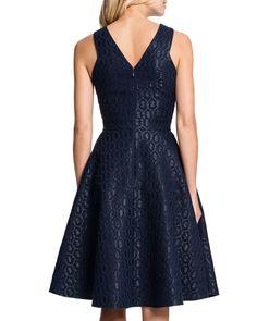 Sleeveless Metallic Hex-Jacquard Fit-and-Flare Dress