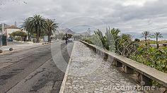 Road through the island Porto Santo . Small island not far of Madeira Island. Portugal, Europe.