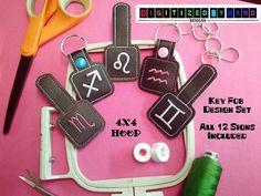 12 In the Hoop Key Fob Design Set In The Hoop by DigitizedByHand