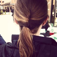 Easy twist pony tail! Pull into a low pony tail, twist down, and bobby pin!