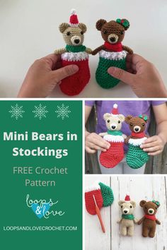 These Mini Bears in Stockings are so fun to make and turn out super cute! They make great gifts, decorations, or ornaments. Little ones will especially love snuggling these little bears up in their cozy little stockings! Free crochet pattern by Loops & Love Crochet Christmas Crochet Patterns, Holiday Crochet, Crochet Animal Amigurumi, Crochet Animals, Love Crochet, Knit Crochet, Pattern Design, Free Pattern, Stuffed Animal Patterns