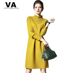 0b85f3c6a31 VA Plus Size XXL Warm Elegant Dress For Women 2016 Autumn Winter Spring  Yellow Red Green Slim A Line Dresses W00712-in Dresses from Women s Clothing  ...