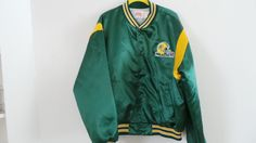 VTG 80s Green Bay Packers Swingster Satin Jacket Shiny Football NFL Mens size XL