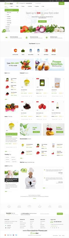 GreenMart is clean and modern design 8in1 responsive #WooCommerce WordPress theme for organic #food shop #eCommerce #website to live preview & download click on image or Visit  #Freebies #giveaway #webdev