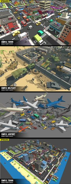 SimpleWorld - Volume One A simple asset pack of environments, vehicles, buildings, Characters, Props, Items and Effects to create an urban city based game. Modular sections are easy to piece together in a variety of combinations. Includes demo scenes. Unity Game Assets.