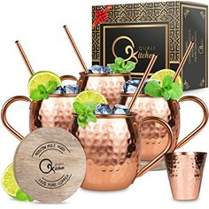 Moscow Mule Copper Mugs Set : 4 16 oz. Solid Genuine Copper Mugs Handmade in India, 4 Straws, 4 Wood Coasters, Shot Glass : Comes in Elegant Gift Box, by Qualikitchen Review
