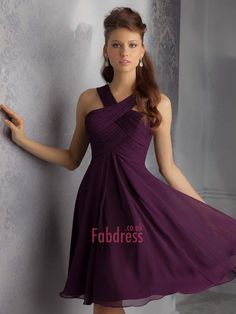 A-line Halter  Ruffles  Sleeveless Short / Mini  Chiffon Bridesmaid Dresses (SZ0318175)