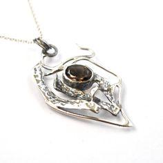 Handmade Smoky Quartz Pendant Unique Silver Necklace by AlexAirey, $309.00