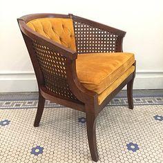 Citrus Velvet Delights! . #Vintage #MidCentury #Bohemian #Velvet & #Cane #Armchair -Click On Link For All Info Modern Bohemian, Mid-century Modern, Mid Century Modern Furniture, Accent Chairs, Upholstery, Armchair, Velvet, Vintage, Inspiration